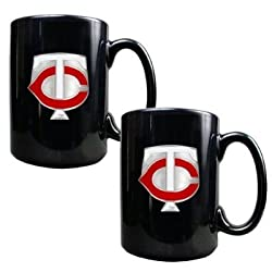 Minnesota Twins 2pc Black Ceramic Mug Set - Primary Logo MLB Baseball