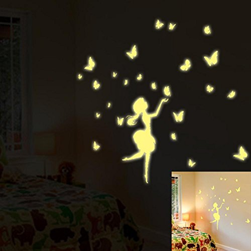 Fluorescent Fairy Wall Sticker, Oksale 7.9 x 11.8 Inch, Glow In The Dark Kids Bedroom PVC Wallpaper Home Decor Removable Applique Papers Mural