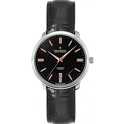 Dreyfuss & Co Watches Men's Swiss Automatic Date Watch Watch With Rose Tone Accents