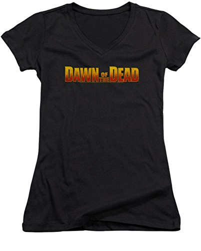 Dawn Of The Dead Logo Ladies Junior Fit V-Neck T-Shirt