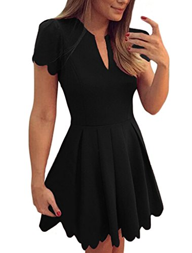 Sidefeel Women Sweet Scallop Pleated Vintage Ruched Dress Large Black