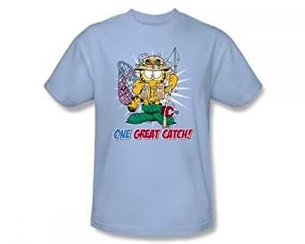 Garfield - - Un adulte Grand T-shirt de capture dans la lumière bleue, XXX-Large, Light Blue