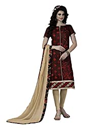 Dress Material Chanderi Maroon Embroidered + Lace Unstitched