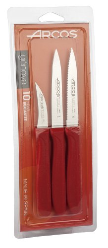 Arcos 3-Piece Paring Knife Set, Red