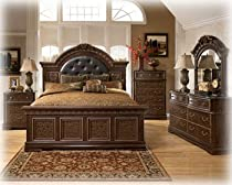 Hot Sale Ashley Southerland Shire Queen Mansion Bed Cherry Grain Finish