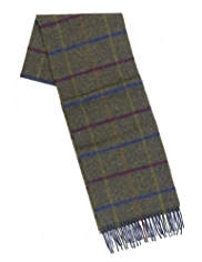 Pure Lambswool Grid Checked Scarf