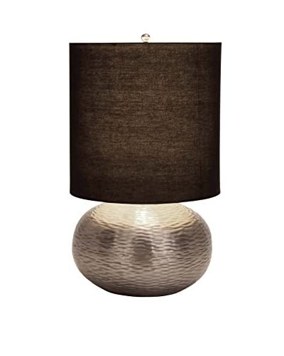 Metal Table Lamp, Silver/Black