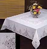 Tablecloth, Vinyl Lace, Easy Care (60x90 Inches Rectangular, White)