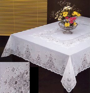 Plastic Table Cloth : Tablecloth, Vinyl Lace 60 x104 Inches Rectangular, White