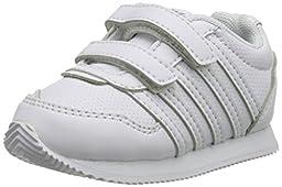 k-SWISS New Haven S Strap Sneaker (Infant/Toddler), White/Gull Gray, 3 M US Infant