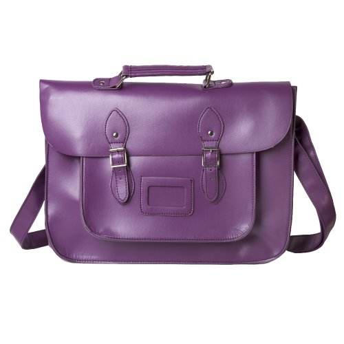 Faux Leather Traditional Vintage Style School Satchel Bag in Purple