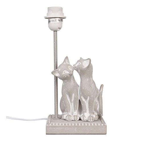 Clayre-Eef-Nostalgie-Vintage-LAMPENFUSS-grau-KATZENPAAR