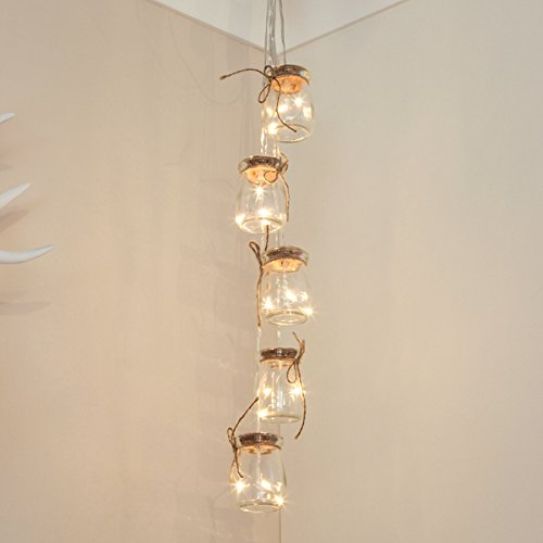 Deko Gläser gefüllt mit Silber Draht Lichtern, batteriebetrieben, 15 LEDs warmweiß, 68cm, von Festive Lights