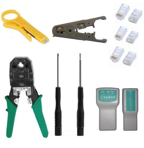 Enhanced Network Cable Tester Kit Rj11 Rj45 Crimping Tool