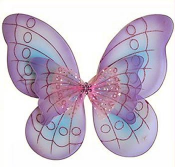 Lavender Purple Pink & Blue Fairy Princess Butterfly Costume Wings with Jeweled Rhinestone Detail and 3d Style