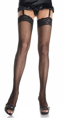 3inch Lace Top Fishnet Suspender Stockings