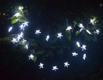LED Star Lights String - Large White Star Shaped Covers - Solar Energy Battery Operated - Light up Holiday Christmas Tree and Outdoor - Twinkle Hanging Rope Lighting - With Garden Stake for Walkway and Patio with Lifetime Guarantee