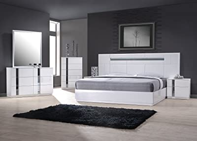 Cute J uM Furniture Palermo White Lacquer With Chrome Accents Queen Size Bedroom Set ue ue