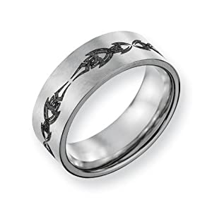 Titanium Flat 8mm Brushed Band Ring