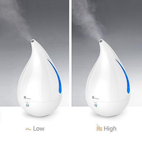 Cool Mist Humidifier, TaoTronics Ultrasonic Air Humidifiers for Bedroom with One Touch Control, Low Water Protection, Waterdrop Shaped