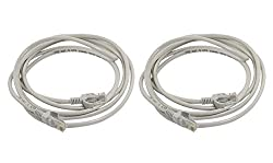 CAT 5e / CAT-5e Ethernet ( Pack Of 2 Pcs ) Patch Cord RJ45 LAN Network Cable - Blue / Grey In 3 Mtr Length