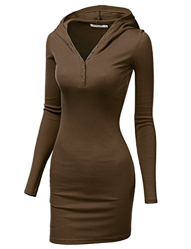 Doublju Womens Stretchy Button Henley Neck Mini Dress MOCHA,S