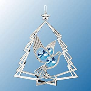 Hanging Sun Catcher or Ornament..... Dove in Tree Shell With Blue Swarovski Austrian Crystals