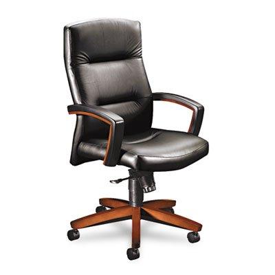5000 Series Executive High-Back Swivel/Tilt Chair, Black Leather/Henna Cherry