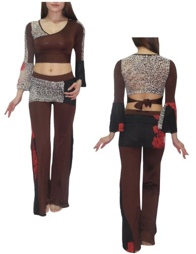 2 PCS SET: Womens Belly Dance Long Sleeves Top & Skirt Pant Set
