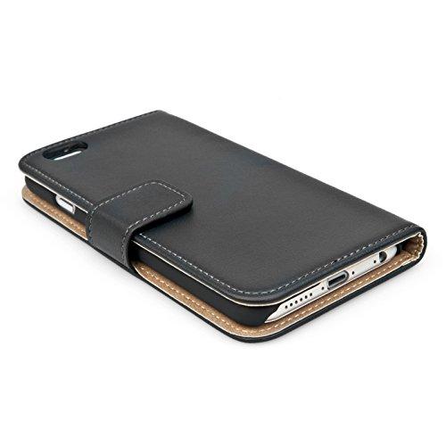 Caseflex coque iphone 6 etui noir r el v ritable cuir for Housse portefeuille iphone 6