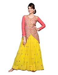 Zohraa Yellow And Peach Faux Georgette Anarkali Suit - Z1723P508-16