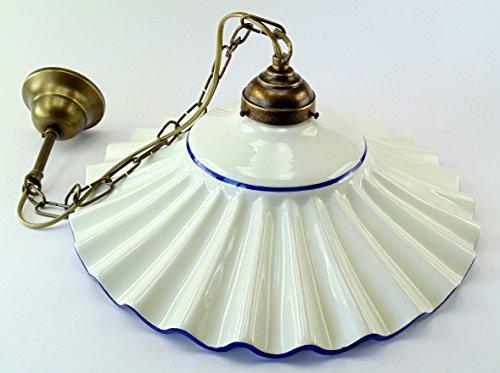 Lampadario ottone brunito sospensione a catenella piatto ceramica a 1 luce l1048 Dimensioni: Altezza 74cm,diametro vetro 37cm. Le dimensioni sono comprensive del piatto.Attacco Edison E 27(Attacco grande).
