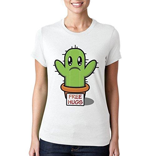 FREE HUGS-Maglietta da donna a forma di CACTUS bianco medium