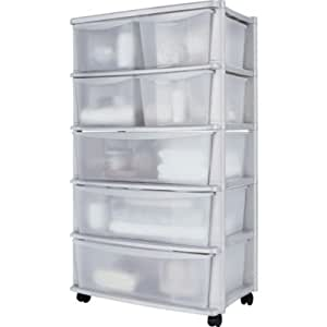 Hsb bundle 7 drawer plastic wide storage chest white - Tour rangement plastique pas cher ...