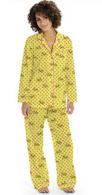 """Munki Munki Women's Poplin """"Love Bikes"""" Pajama in Yellow"""