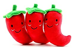 3 Pack Dog Squeak Toys, Pepper Shape Pet Puppy Chew Toys for Teeth Cleaning Period and Playing