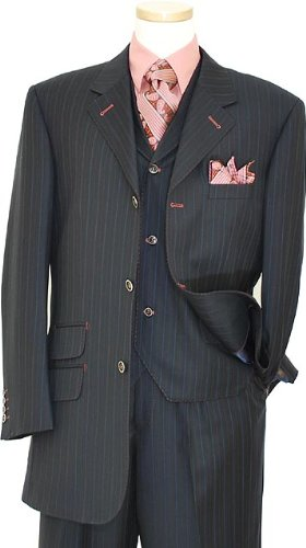 Tayion Platinum Collection Navy Blue / Mauve / Sky Blue Pinstripes With Muave Hand-Pick Stitching Super 140'S Extra Fine Wool Vested Suit JIN31825/11W (US 42L/Euro 52 - 36 in. Waist)