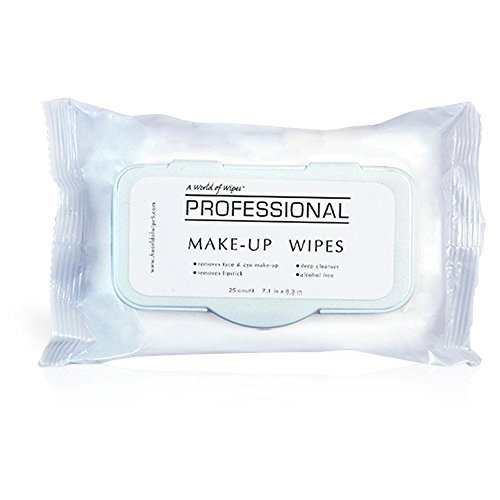 A World Of Wipes Professional Make-Up Remover Wipes, 25-Count Container, (4 Packs) (Makeup Remover Wipes Container compare prices)