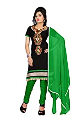 Aastha Creation Green Cotton Embroidered Dress materials