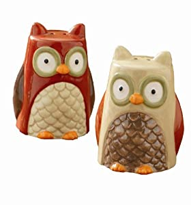 Tag Turning Leaves Collection Owl Salt and Pepper