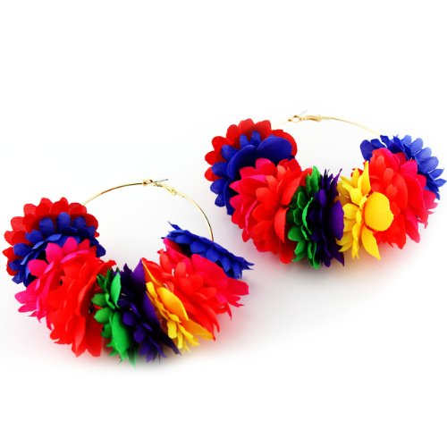 Celebrity Inspired Poparazzi Basketball Wives Love and Hip Hop MultiColor 3'L Fabric Flower Earrings