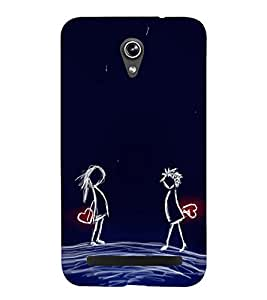 Love Couple 3D Hard Polycarbonate Designer Back Case Cover for Asus Zenfone Go ZC500TG (5 Inches)