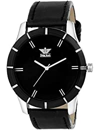 SwissRock Black Dial With Black Leather Strap Analogue Men's Watch - BLK_M_1