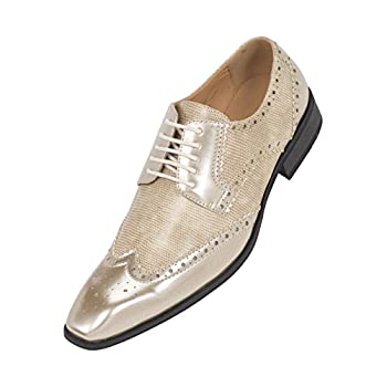 Amali Mens Two-Toned Metallic Antique Gold Classic Dress Shoe with Wing-Tip and Perforated Detailing: Style 7800 Metallic Antique Gold-035