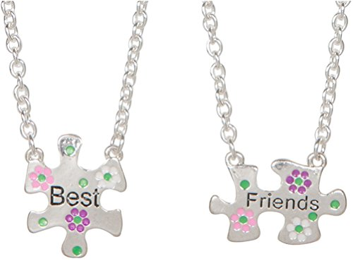 Heirloom Finds Teen Bff Best Friends Puzzle Piece 2 Necklace Set With Flowers
