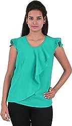 Amadeo Women's Cap Sleeve Top (KRISHA18, Green, Small)