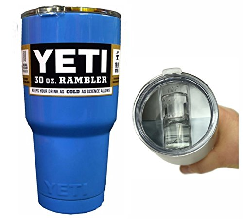YETI Coolers 30 oz (30oz) Stainless Steel Custom Powder Coated Rambler Tumbler Cup with Exclusive Spill Proof and Resistant Lid (Panthers Blue)