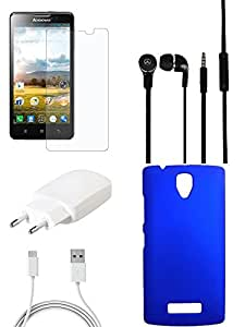 NIROSHA Tempered Glass Screen Guard Cover Charger Headphone / Hands Free for Lenovo A2010 - Combo