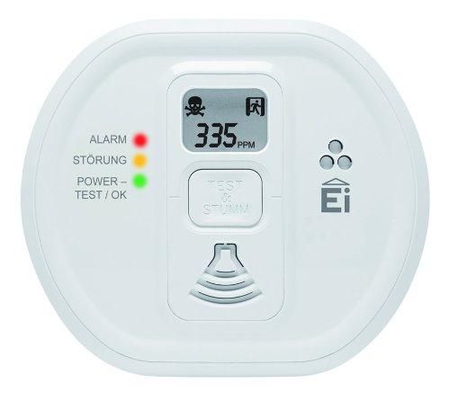 Ei 207 D Kohlenmonoxidwarnmelder (mit LCD-Display, für Wohnung, Camping und Boot, 7 Jahre Produktlebensdauer) weiß, 1 Stück