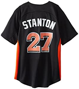 MLB Miami Marlins Boy's Giancarlo Stanton 27 Batting Practice Jersey, Large, Pro Black/Fire Red